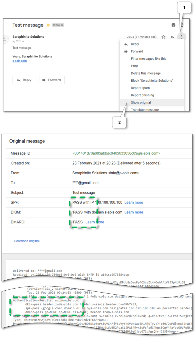 Gmail web message headers